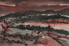 Abstracted Crimson Landscape in Watercolor, 1981