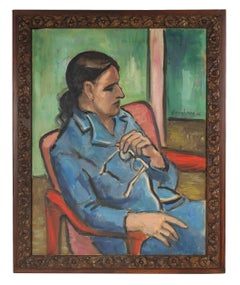 """""""Rita with Glasses"""", Modernist Portrait of a Woman in Green, 1968"""