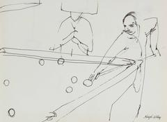 Billiards Scene in Ink