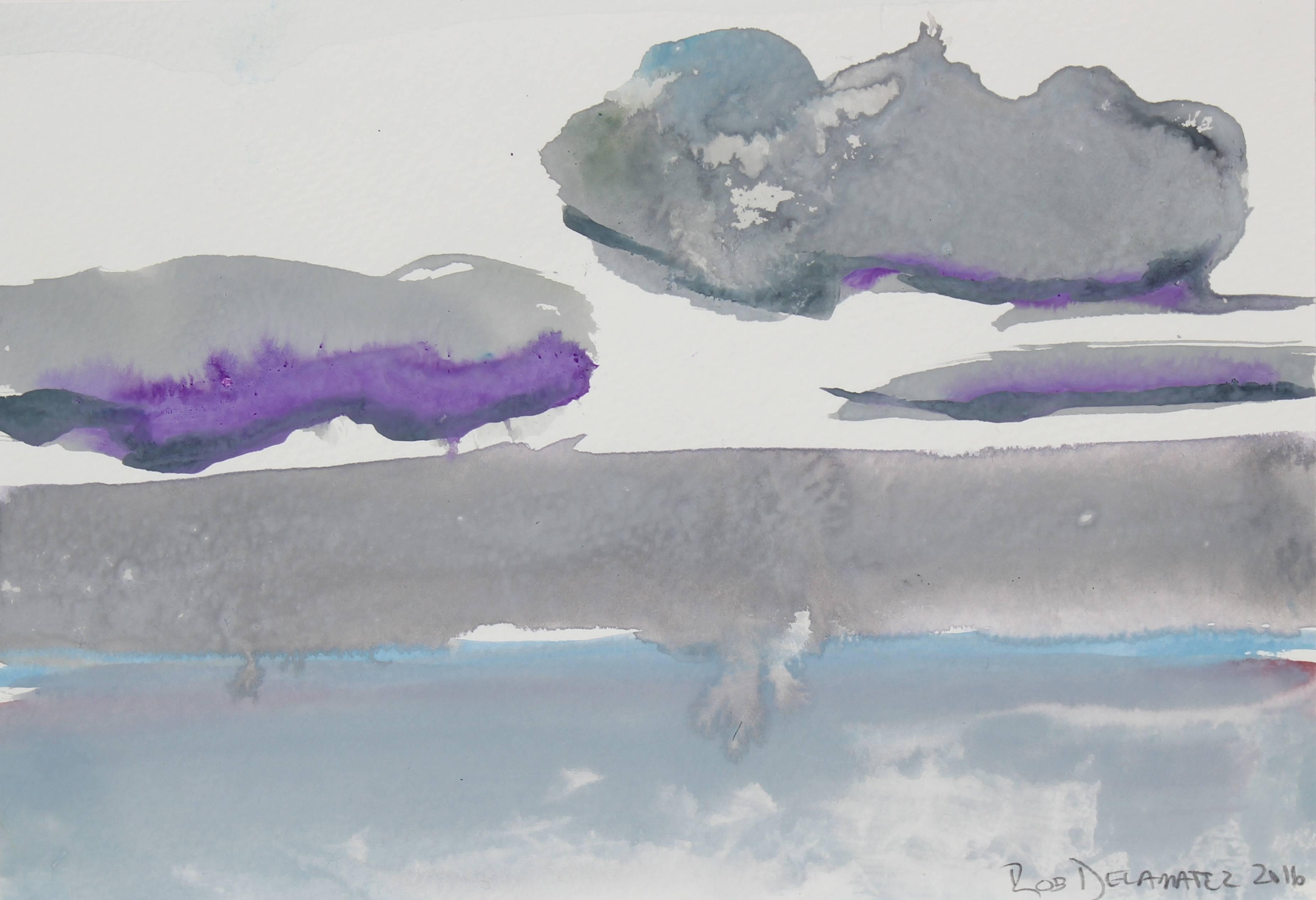 """Silver Horizon"" California Seascape in Gray, Gouache Painting, 2016"