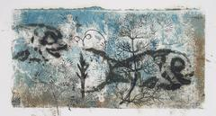 """""""Blue Sea"""" Petite Monotype with Fish, 1964"""