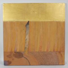 Large Golden Mixed Media Abstract, 20th Century