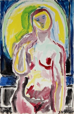 Colorful Nude Backlit by Moon, Watercolor Portrait, 1950
