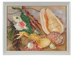 Coastal Still Life with Seashells and Seaweed, Oil on Canvas Painting