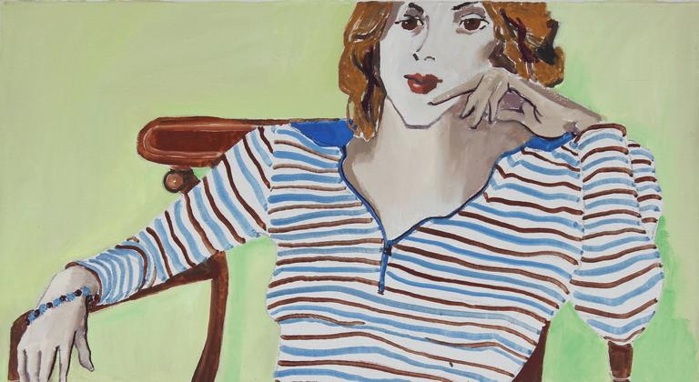 """Oakland, Linda"" Female Portrait in Lime Green, Oil on Canvas Painting, 1971"