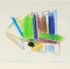 Angular Pastel Abstract in Green and Blue, 1997