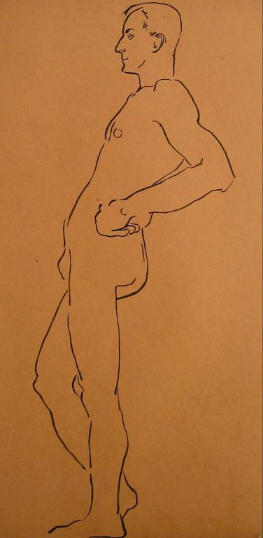 Helen Sewell Rennie - Modernist Male Figure Study, Ink on Paper, Circa 1940 1