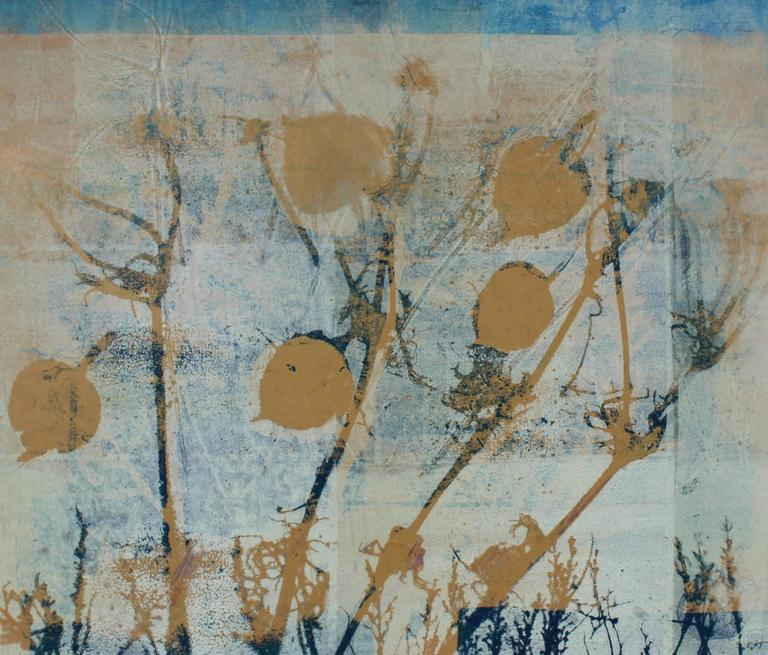 """Frost"" Botanical Abstract Monotype, 20th Century"