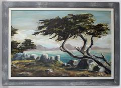 California Coastal Cypress Tree, Oil Painting, Mid Century