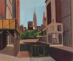 """New York"" Cityscape in Oil, 1977"