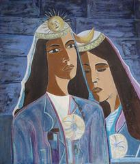 """Inca and Coya"" Celestial Portrait of Two Women, Oil Painting, Mid 20th Century"