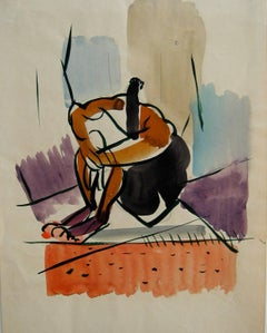 Seated Modernist Figure, Watercolor Painting, Circa 1940