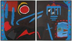 """""""Madrid"""" Large Abstract Diptych"""