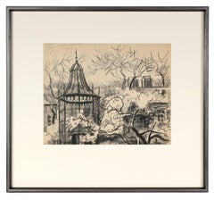 """Central Park Zoo"" Charcoal New York Landscape, 1964"