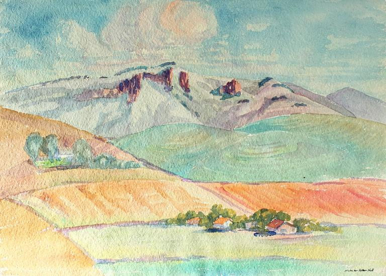 Sadie Van Patten Hall Landscape Art - California Landscape in Watercolor, Circa 1950s