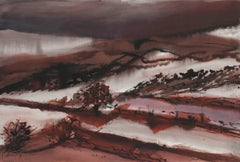 Landscape in Crimson Watercolor, 1981