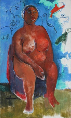 Mid 20th Century Expressionist Nude with Blue, Oil on Canvas Portrait