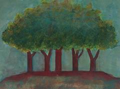 Red Trees in a Landscape, Acrylic Painting, 2008