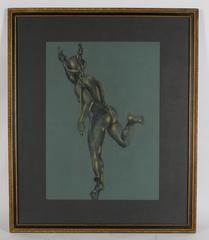 Study of the Roman God Mercury, Charcoal and Pastel Figure, Circa 1900