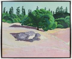 """La Vie en Rose (Live Oak)"", Pink & Green California Landscape in Oil, 2015"