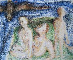 Illuminated Figures with Bird