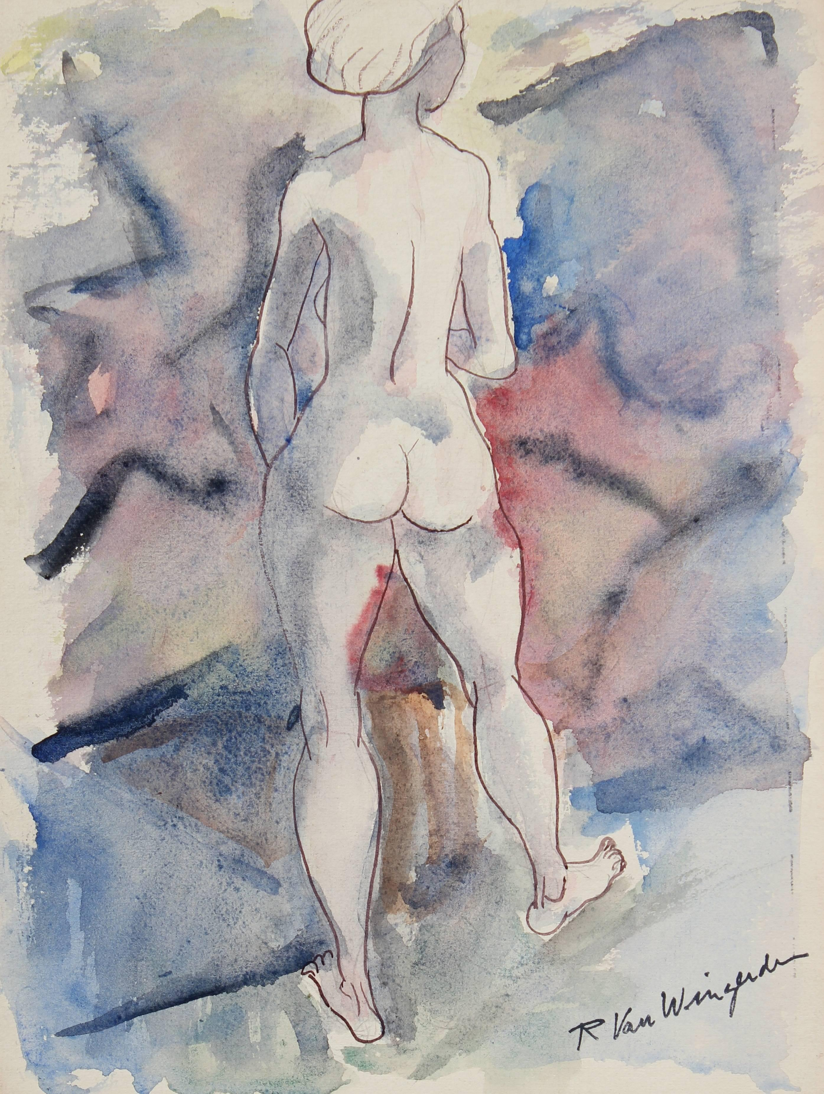 Expressionist Nude in Blue and Purple, Watercolor Painting, Circa 1950s