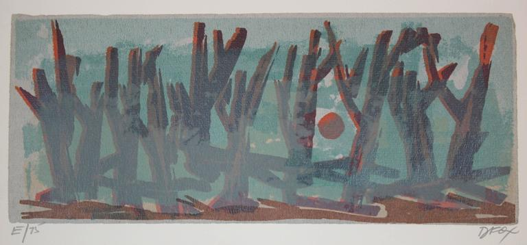 Forest and Moon Through Fog, Serigraph on Paper