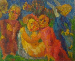 """Evil"" Expressionist Figures in Oil, 1955"