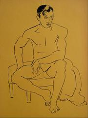 Modernist Male Figure in Ink, Circa 1940s