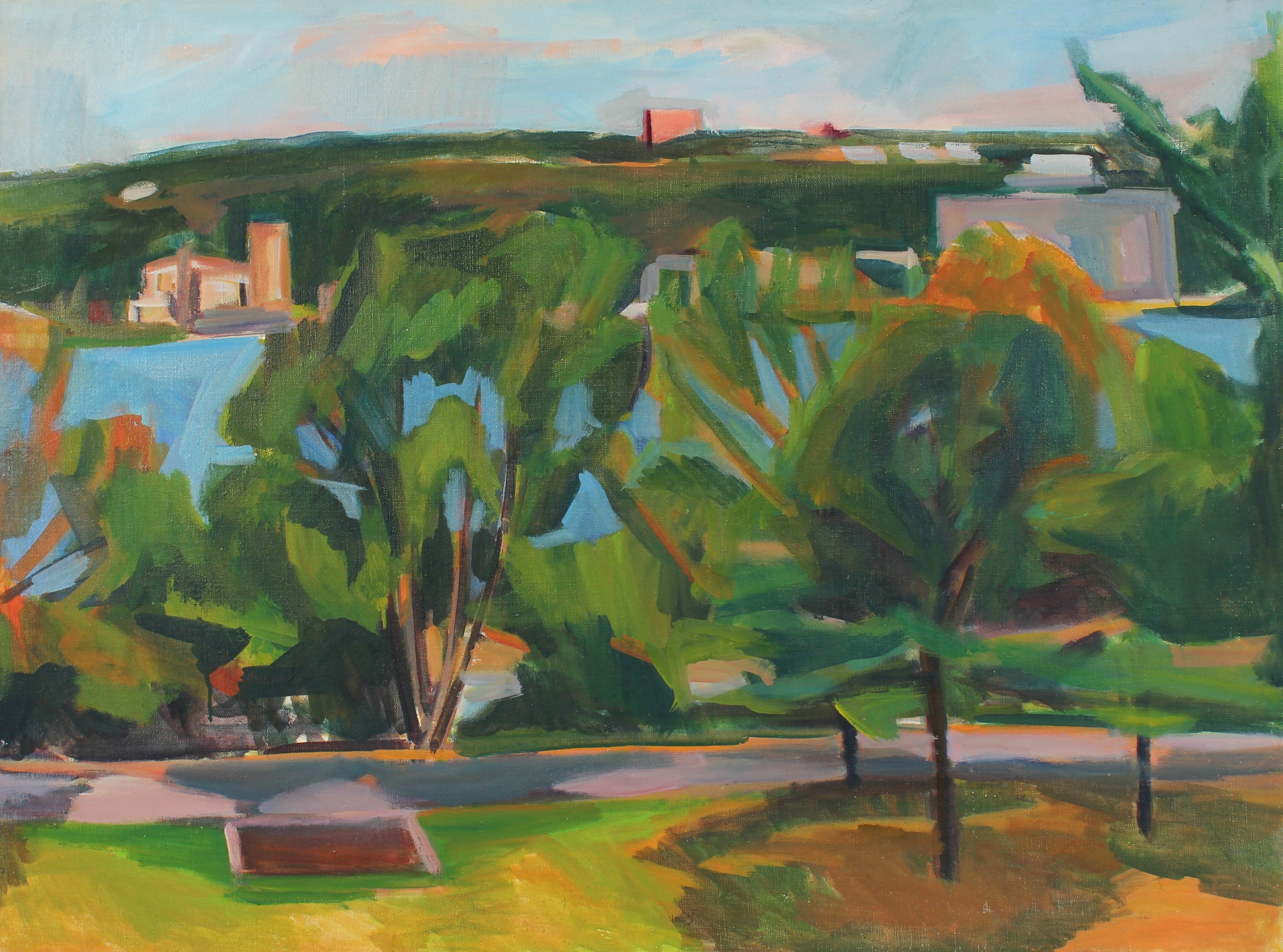 Cityscape with Trees and Lake, Oil on Canvas, 20th Century