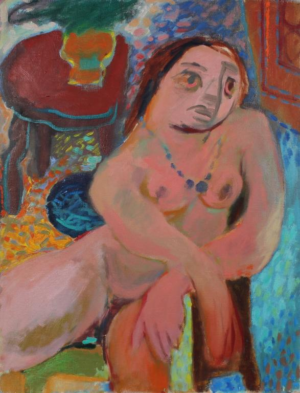 Martin Snipper Nude Painting - Expressionist Nude in Oil, Circa 1940s
