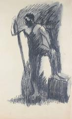 Standing Male Figure in Charcoal, Circa 1960s
