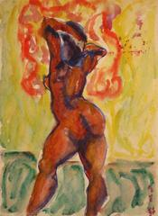 Expressionist Figure in Watercolor, Circa 1950s