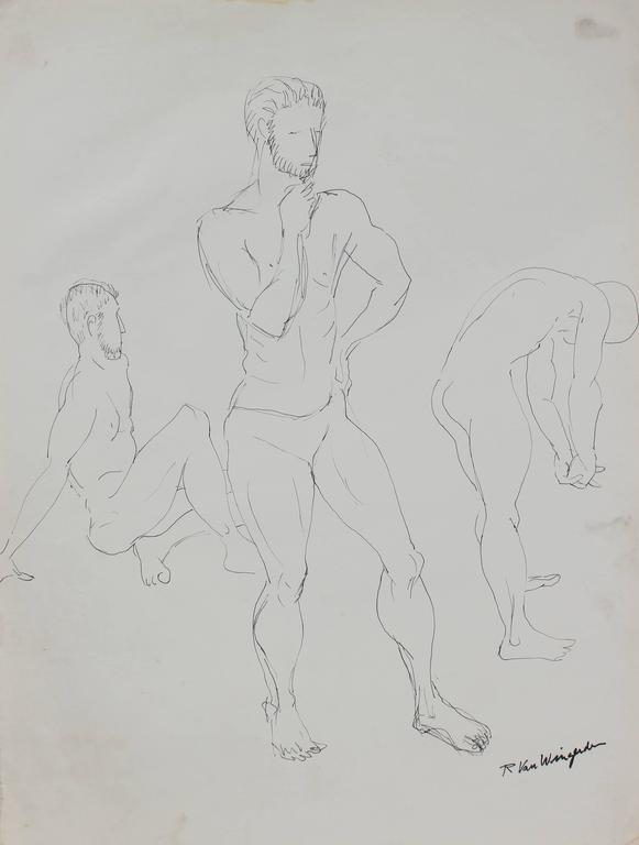 Male Figure Study, Ink on Paper, Mid 20th Century