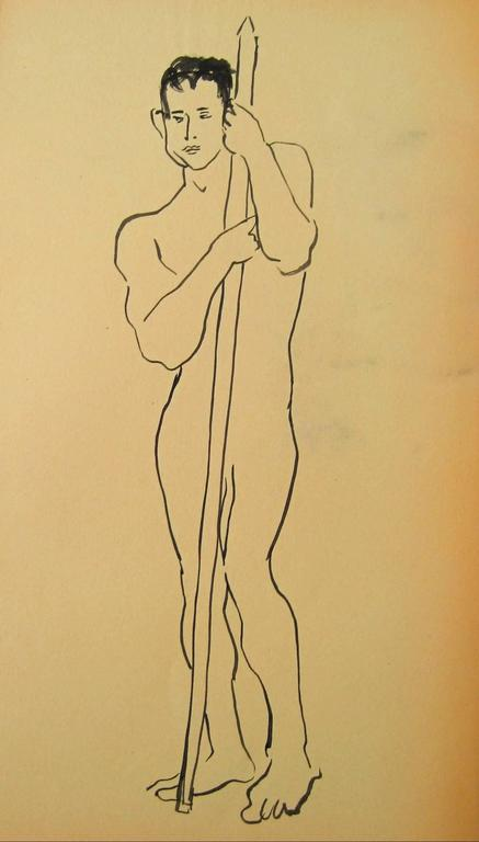 Posed Male Figure, Ink Drawing, Circa 1950