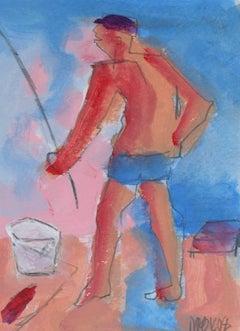 """Fisherman- Huntington Beach"" Acrylic Portrait, 2008"
