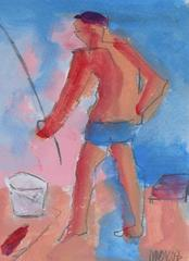 """Fisherman- Huntington Beach"" Acrylic Portrait, 2008"
