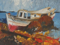 Boat on the Rocks, Oil Painting, Mid-Century