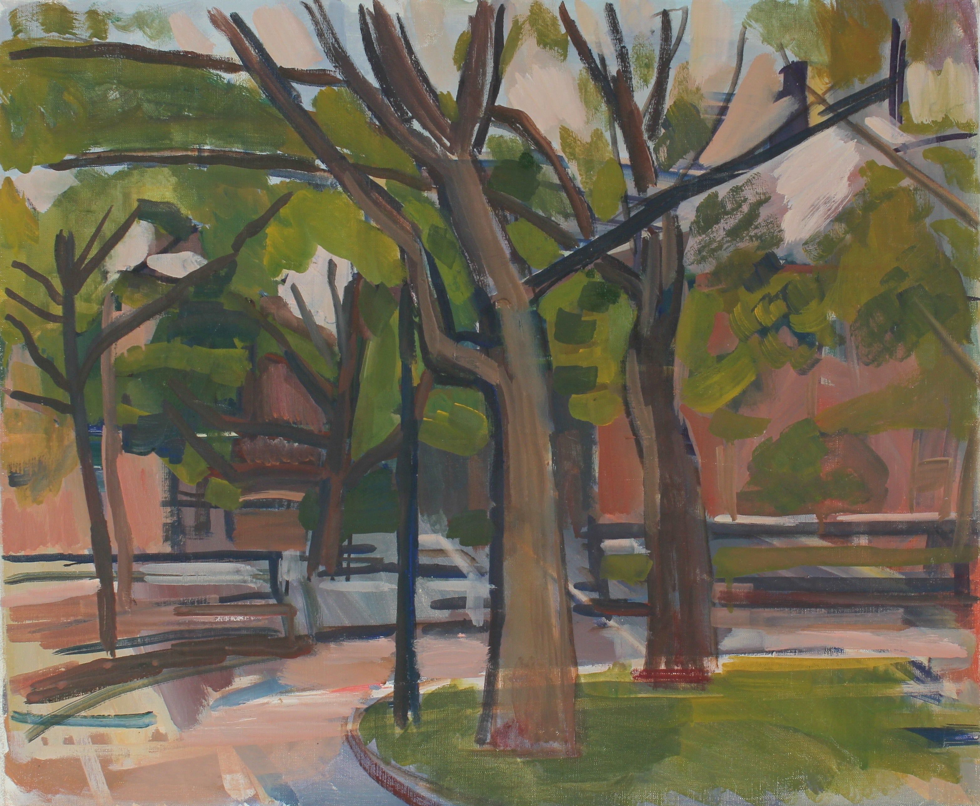 City Park Through Trees, Oil On Canvas Landscape, Late 20th Century
