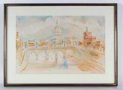 """""""Morning, Tiber, Rome"""" Italian Cityscape in Watercolor, 1968"""