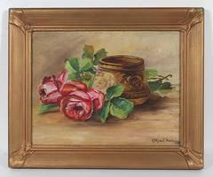 Still Life with Roses, Oil on Paper, 1929