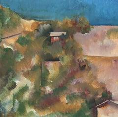 Petite Los Angeles Hillside Painting in Oil, 20th Century