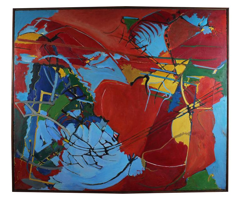 """""""Decision"""" Large Abstract Expressionist Oil, 1968"""