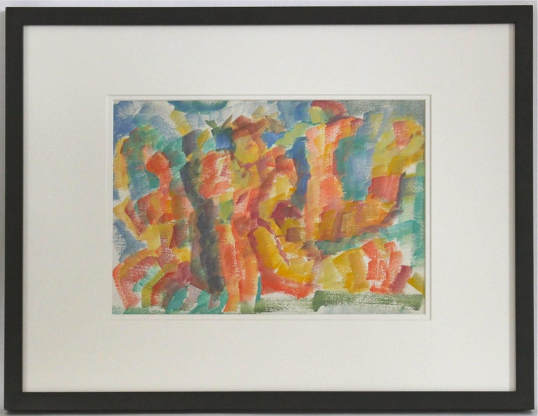 Expressionist Figures in Watercolor, Framed, Early 20th Century