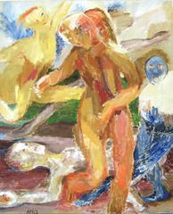 """Dance"" Large Expressionist Figurative Oil, 1968"