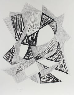 """Star"" Large Cubist Abstract in Ink and Charcoal, 2004"
