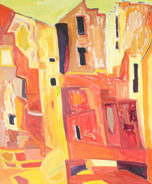 """""""New Mexico"""" Abstracted Adobe Houses, Oil Painting, 1975"""