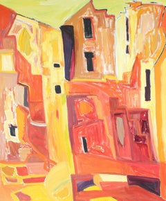 """New Mexico"" Abstracted Adobe Houses, Oil Painting, 1975"