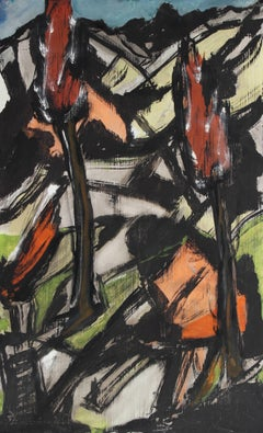 Expressionist Abstract Landscape Painting with Black and Red, Circa Late 1940s