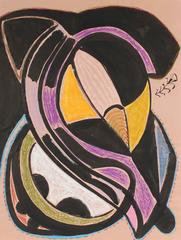 Modernist Abstract in Ink and Pastel, 1972